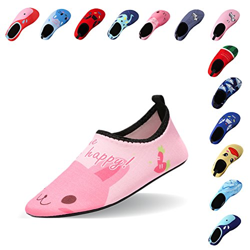 Price comparison product image Lauwodun Baby Boys Girls Water Shoes Barefoot Aqua Sock Shoes for Beach Pool Surfing Yoga Swimming Walking-Pink Cat2021