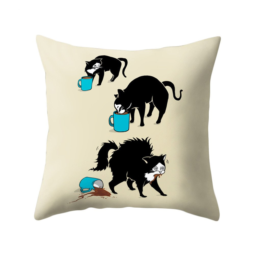 timeracing Fashion Cute Cartoon Three-dimensional Design Cat Print Soft Bed Chair Throw Pillow Case Cushion Cover Home Room Office Decor