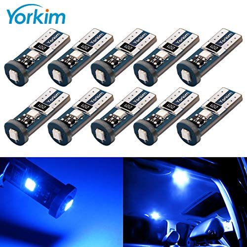 Yorkim 194 Led Bulb Blue Canbus Error Free 3-SMD 2835 Chipsets, T10 Blue Interior Led For Car Dome Map Door Courtesy License Plate Trunk lights with 194 168 W5W 2825 ()
