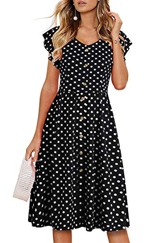 Lamilus Women's Vintage Classic Black Dot Print V-Neck Fitted Swing A-Line Cocktail Party Dress with Ruffles Sleeve(XL, L026-Black Dot-002) ()