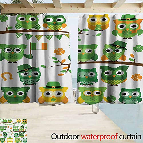 (AndyTours Outdoor Patio Curtains,St. Patricks Day Irish Owls with Leprechaun Hats on Trees Shamrock Leaves Horseshoe,Drapes for Outdoor Decor,W72x45L Inches,Green and White)