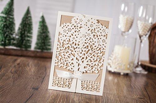 100x Wishmade White Tree Design Wedding invitation card, business invitation card, Party invitation card CW6176 by wishmade (Image #1)