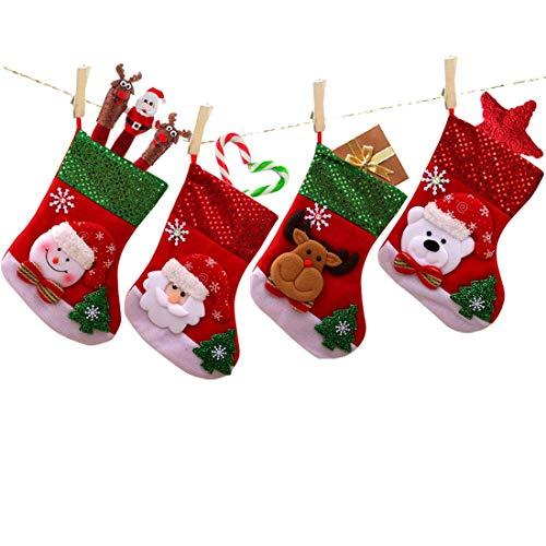 MNBS 4pcs Christmas Stockings, 9.8inch Gift Socks Christmas