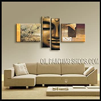 BUDDHA FENG SHUI LARGE MODERN ABSTRACT OIL PAINTING ZEN WALL ART WORTHlESS DECOR Signed Original By