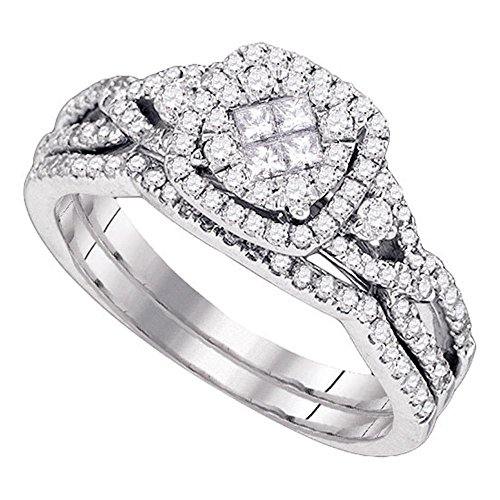14k White Gold Princess Diamond Halo Engagement Ring Band Bridal Illusion Set Infinity Style 3/4 ctw Size 9