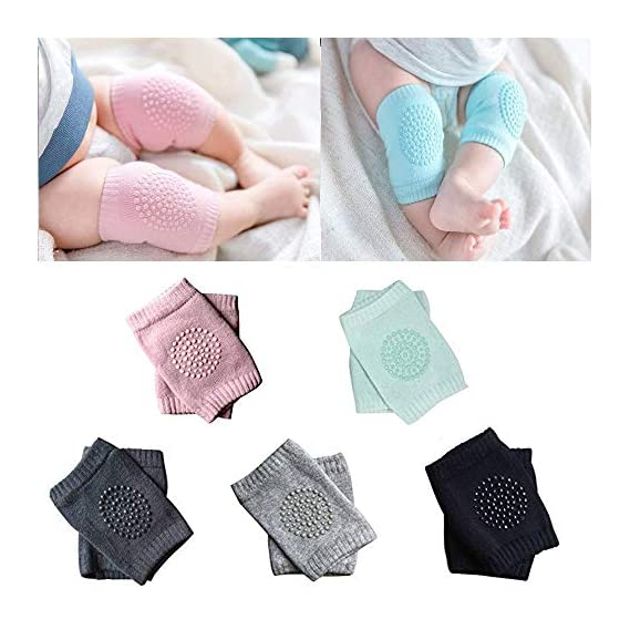 AFIYA Baby Knee Pads for Crawling, Anti-Slip Padded Stretchable Elastic Cotton Soft Breathable Comfortable Knee Cap