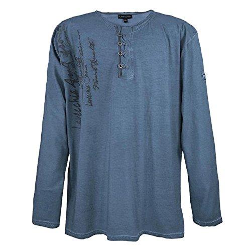 Herren Lavecchia langarm Shirt aus reiner Baumwolle mit aufwendiger Knopfleiste in Übergröße blau