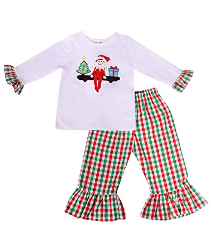 Ruffle Chest (Babeeni Girls Clothing Sets With Elf On The Shelf Applique Pattern On The Chest, Lovely Ruffles, White Knit T-Shirt and multicolored Pant For Christmas (6M))