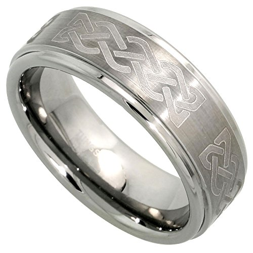 Hers Satin Tungsten (8mm Tungsten 900 Wedding Ring Celtic Knot Pattern Satin Finish Recessed Edges Comfort fit, size 13.5)