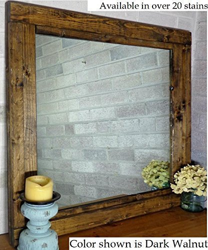 renewed dcor farmhouse mirror in 20 stain colors large wall mirror rustic modern home
