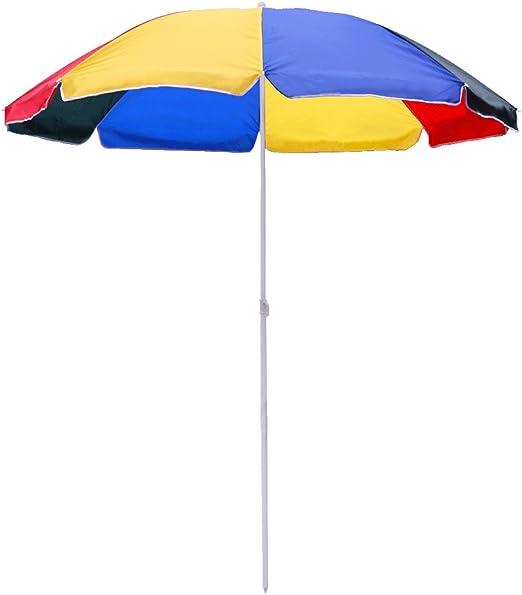 HG® 1.8m Sombrilla De Playa protección UV Aluminio portátil con Manivela Exterior Playa Parasol: Amazon.es: Belleza