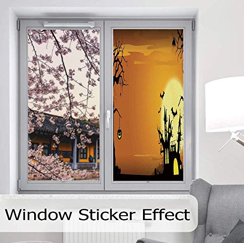 (ALUON The Visual Effect of Textured Glass and Stained Glass,Halloween Decorations,is Good for Long Year Under The Sunshine,Gothic Haunted House Bats Western Spooky Night Scene,24''x48'')