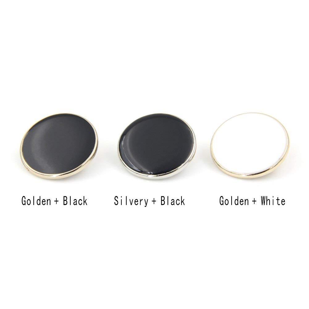 Silver+Black 20 mm Xhuan Moda Bottoni Decorativi Bottoni in Metallo per Uomo Camicia Tuta Overcot Accessori da 10 Pezzi