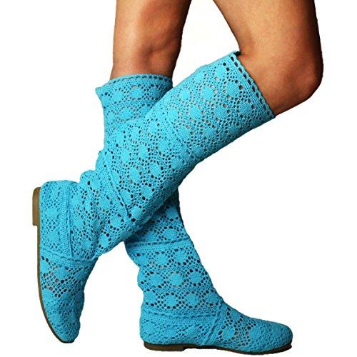 Yying Damen Sommer Stiefel Stiefeletten Flach Stickerei Hohe Stiefel, Sexy Mesh Schlupfstiefel, Slip-on Schuhe Boots Blau