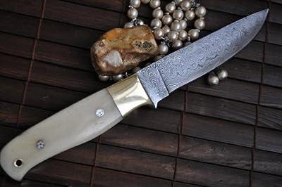 Handmade Damascus Hunting Knife - Bushcraft Knife - Mammoth Bone Handle