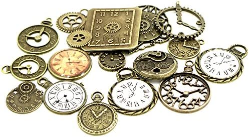 10pcs antiqued brass alarm clock pendant charm G975