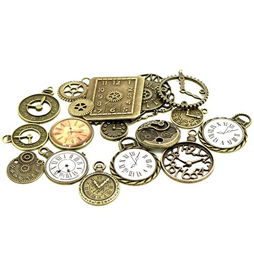 Steampunk Pendants 20pcs Mixed Antiqued Bronze Charms Clock Face Charm Pendant Jewelry Making DIY Crafts Gears