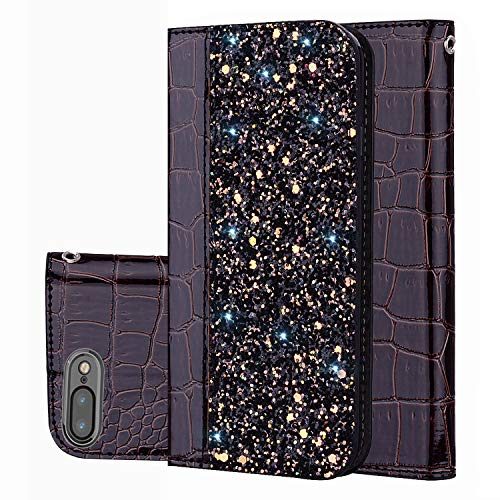 Black Friday Cyber Monday Deals iPhone 8Plus Case,iPhone 7Plus Wallet Case Cover,[Bling Glitter Shiny] Leather Flip Folio Case Cover Kickstand Card Slot for iPhone 8Plus (Black-iPhone 8Plus/7Plus)]()