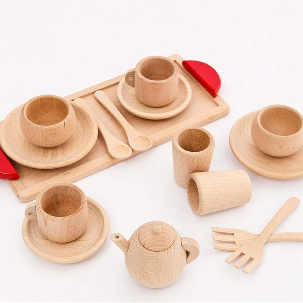 Guangzhou 1 Set Utensili da tavola in legno Teiera Tazza da t/è Teatime Party Play Toy Casa delle Miniatura da cucina Accessori per la tavola Per bambini Set da t/è in legno Combinazione Colore in legno
