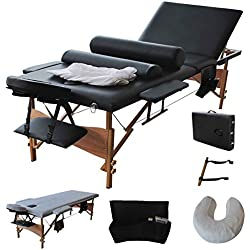"Reinforcement 84""L Portable Folding Professional Massage Table Bed, Adjustable Massage for Salon Beauty Physiotherapy Facial SPA Tattoo Household(3 Section, Black)"