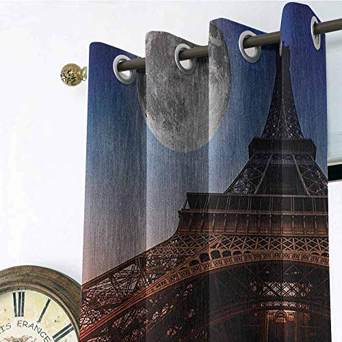 Eiffel Tower Picture Custom Gromets Curtain Drapes for Babys Room, Full Moon Night Sky Dusk Digital Style Minimal French Flag Eiffel Tower Digital Fashion Darkening Curtains, Navy Red, W96 x L72 Inc