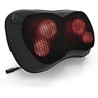 Sable Shiatsu Neck Back Massager Pillow with Heat (Black)