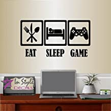 Wall Vinyl Decal Home Decor Art Sticker Eat Sleep Game Words Phrase Symbol Gamer Gaming Joystick Room Removable Stylish Mural Unique Design