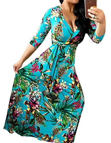 Cruiize Womens Montée Moitié Manchon Extensible Haute V-cou Robe Maxi Oscillant Floral Bleu