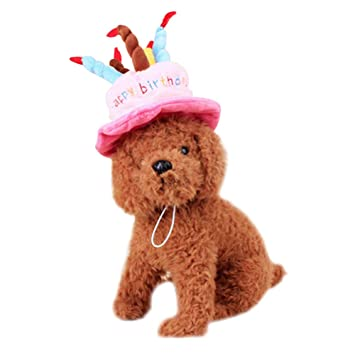 Nikgic Dog Birthday Hat Cute Lovely Pet Happy Headwear For Dogs Cats Pink