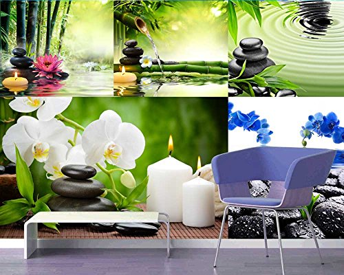 Peel and Stick Wallpapaer Zen and Spa Theme Images Collage Removable Large Wall Mural Creative Wall Decal