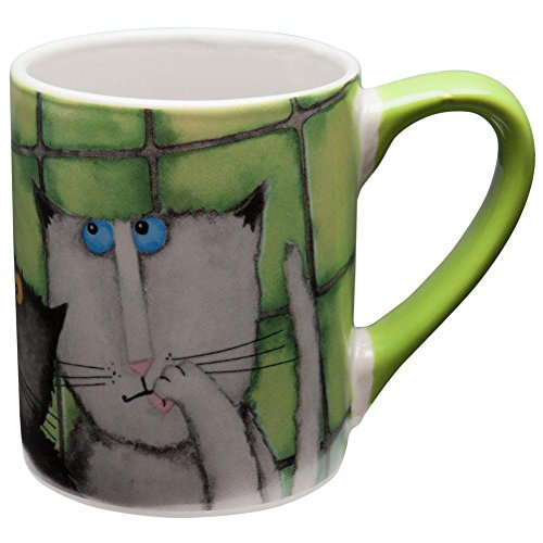 Animal World - Cats Hanging Against Wall Coffee Mug - Green by -