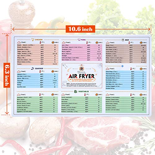 Air Fryer Magnetic Cheat Sheet Cookbook Magnet Cooking Times Quick Reference for 66 Common Prep