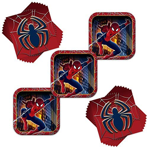 Marvel Ultimate Spider-Man Birthday Party Plates & Napkins Combo - Serves 24 -