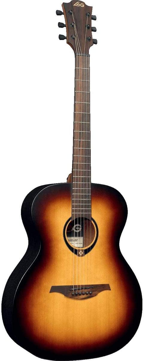 Lag Tramontane 70 Auditorium Solid Sitka Spruce Acoustic Electric Guitar Brownwood Fingerboard Brown Sunburst Musical Instruments
