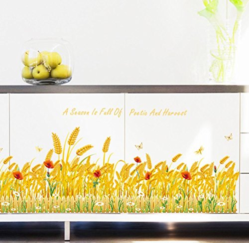 BIBITIME Sayings A Season Is Fall of Poetic And Harvest Quotes Sticker Gold Wheat Field Border Wallpaper Flower Butterfly Dragonfly Vinyl Sticker for Living Room Window Dragonfly Border