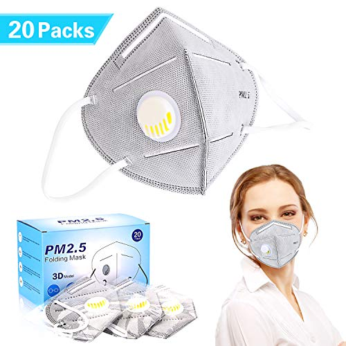 Mouth Mask Anti Pollution Mask,Unisex Dust Mask Disposable 20 Packs,N95 Particulate Respirator Mask with Breathing Valve,PM2.5 Filter,Personal Protective Equipment for Home,Outdoors