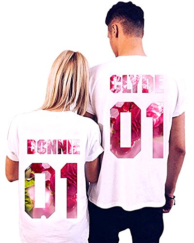 Bonnie And Clyde Outfits (Pxmoda Women's Clyde+Bonnie 01 Matching Round neckT-Shirts, Couple Outfit (White) (M, Pink)