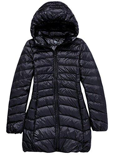 (chouyatou Women's Hooded Ultra Light Weight Packable Down Midi Outerwear Coats (Medium, Black))