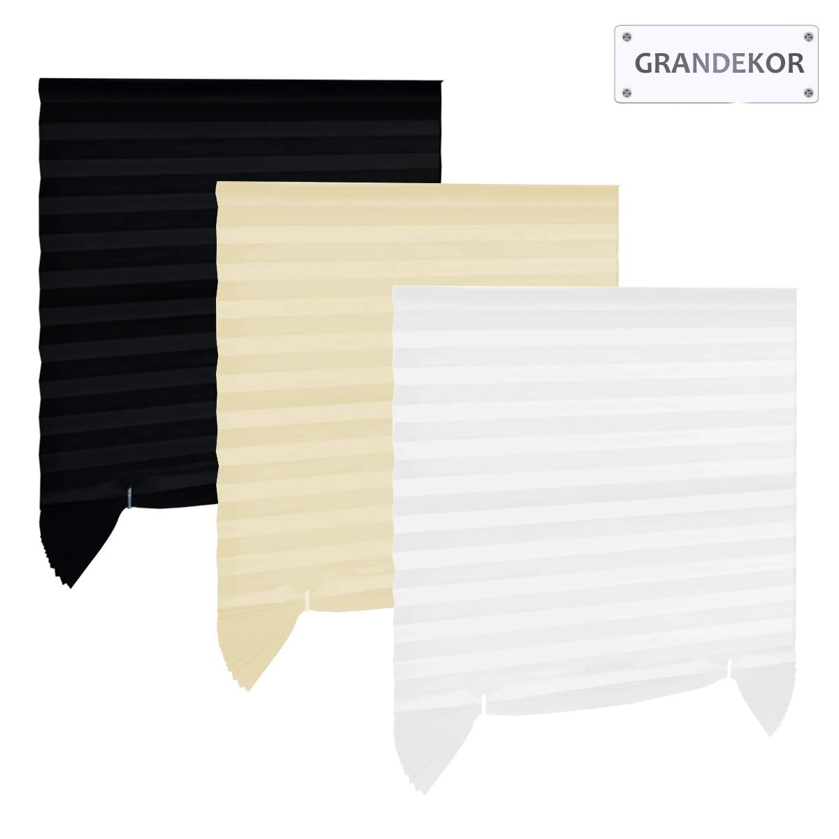 Grandekor Pleated Blind Instant Temporary Polyester Blinds 110x182cm(WxD)-Black-(1-Pack)-Cuttable Pleated Shade with Stick No Drilling for Security, Privacy Protection Dedeco