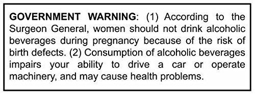 (Medium 3 Pack) Alcohol / Beer / Wine - Government Warning Label for Growlers - Vinyl Self Adhesive...