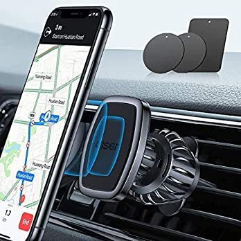 LISEN Car Phone Holder Mount, [Upgraded Clip] Magnetic Phone Car Mount [6 Strong Magnets] Cell Phone Holder for Car…