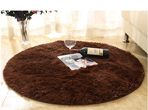 Soft Round Rug,Fluffy Carpet, Bedroom Mats Round Shag Floor Pad for Girls Bedroom Decorate Coffee - Girls Round Brown