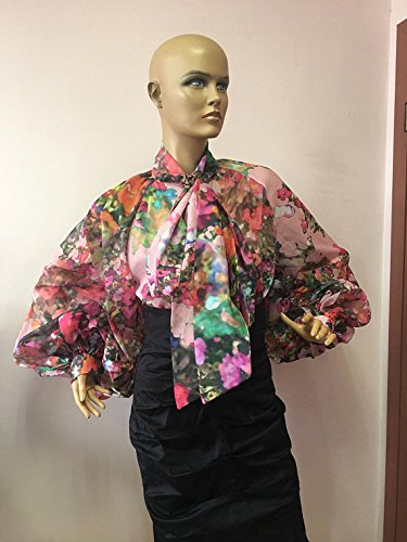 Multicolored Bow blouse, Women Cotton Formal Blouse, Cocktail White Top, Colorful Women's Shirt, Artsy Pied Blouse Colorful Women' s Shirt