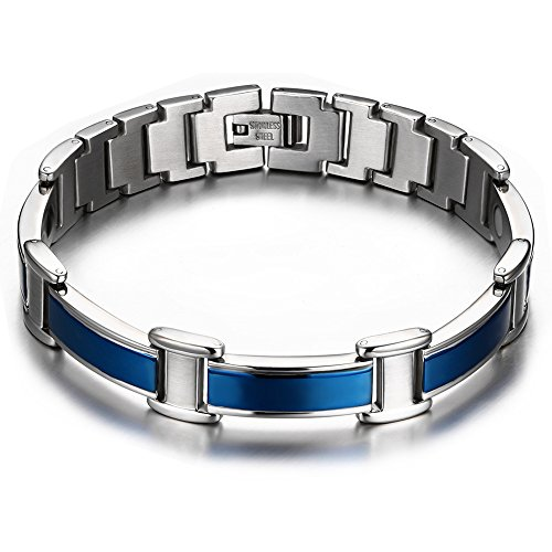 BEMI Health Care Cool 9 Style Hematite Ocher Titanium Stainless Steel Watch Chain Link Bracelets for Mens 12mm Blue (Diamond Titanium Bracelet Mens)