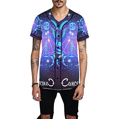 Lumos3DPrint Constellation Zodiac Sign Cancer Men's Baseball Jersey Button Down T Shirt
