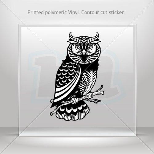 Decals Sticker Traditional Owl car helmet window Boat jet-ski Garage door 6 X 3.6 Inches Vinyl color print 0600 W9984