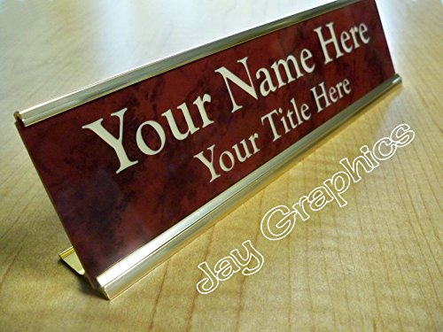 Nameplates Desk Marble (Custom Engraved 2x8 Premium Name Plate & Desk Holder | Marble Red & Gold | Personalized Customized Desk Tag Sign)