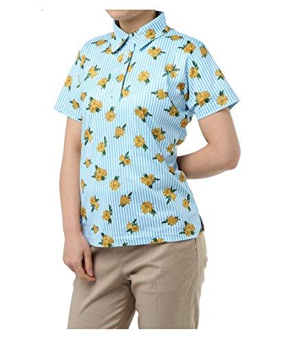 オプスト レディース ゴルフウェア ポロシャツ 半袖 ストライプフラワー半袖シャツ OP220301H08 BL L