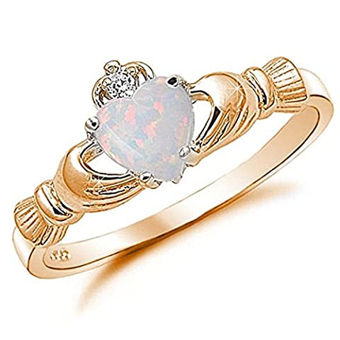 925 Sterling Silver Claddagh Ring Rose Gold Rhodium Plated Created Fiery Lab Created White Opal CZ accent, (Womens Gold Claddagh Ring)