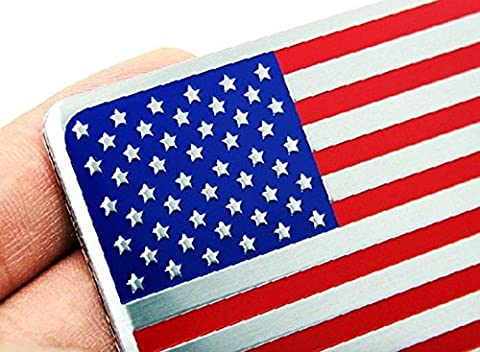 2PCS Alloy USA AMERICAN Flag Badge Emblems Sticker for Auto car Rear Sides Decors 3D - Fender Replacement Speaker